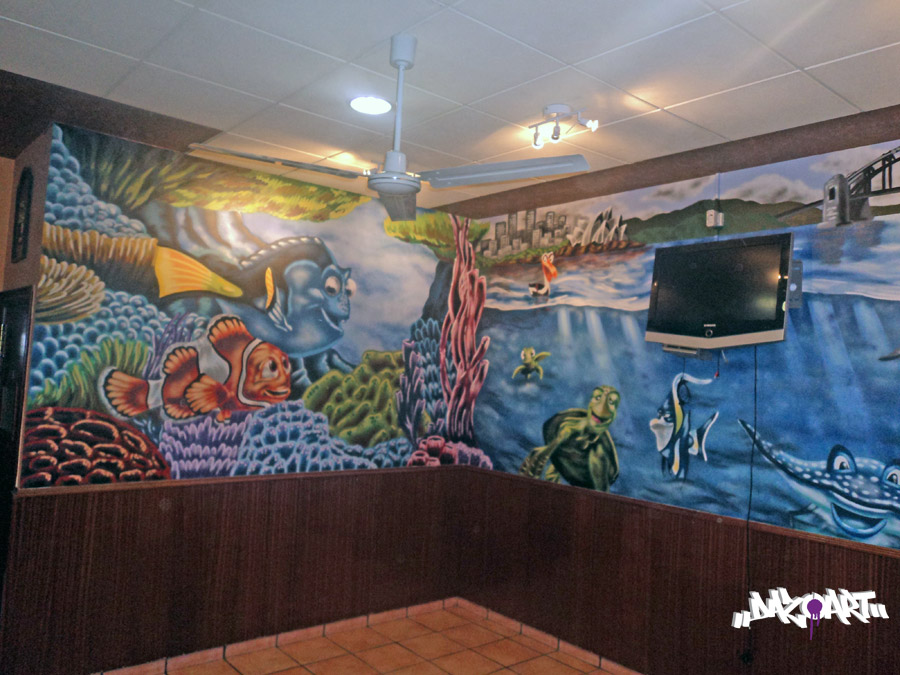 Spa coffee shop dazoart graffitis mural art for Mural coffee shop